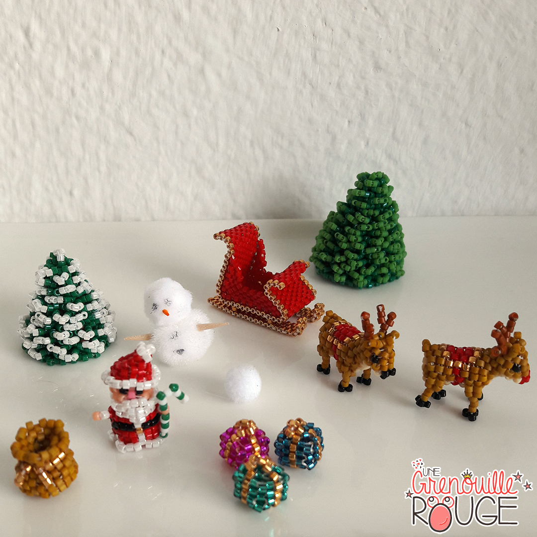 Santa, Rudolf - Miyuki Delica Seed Beads